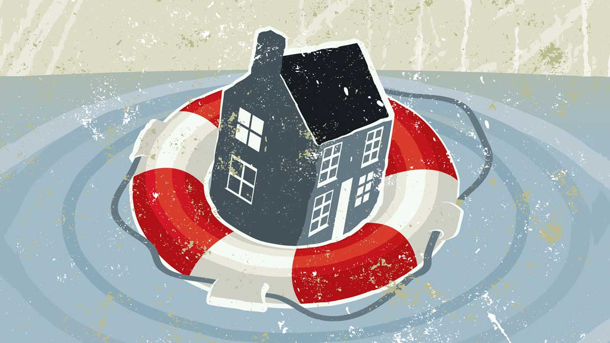 Illustration of a house floating in a life preserver