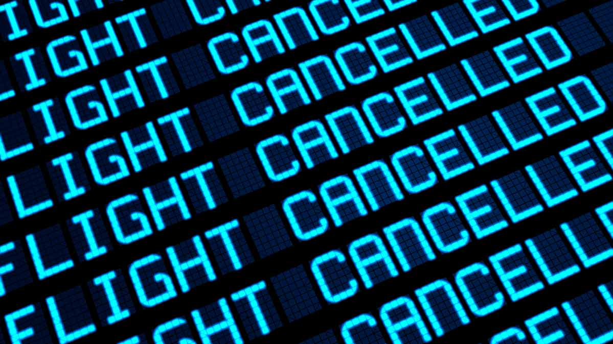 Canceled flights on a flight status board for an article about the Boeing 737 Max grounding.