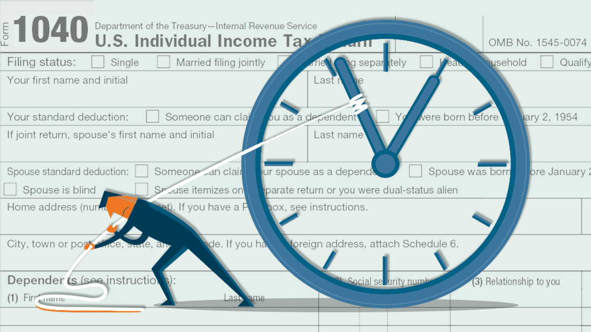 An illustration of an IRS 1040 tax form
