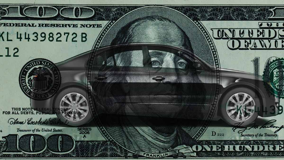 An illustration of a $100 bill with a car superimposed on it