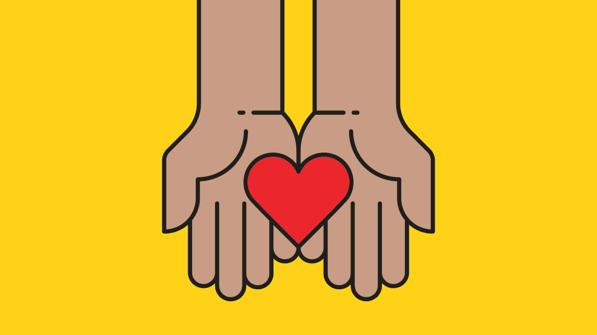 Illustration of two hands holding a heart