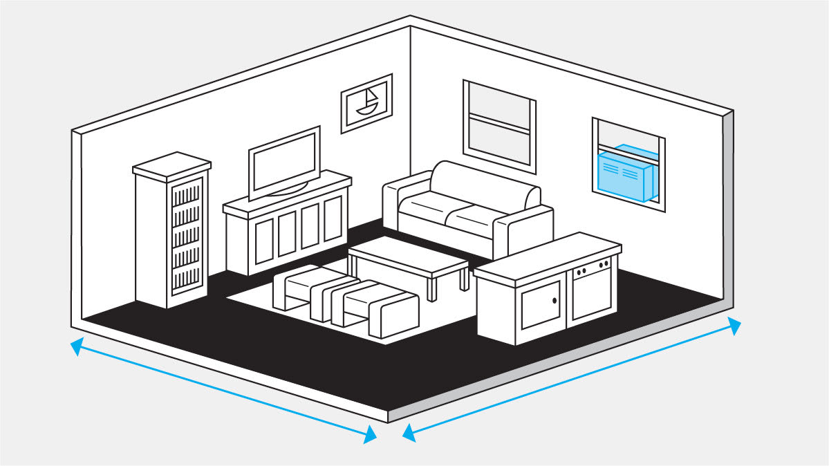 An illustration of a living room with a window air conditioner.