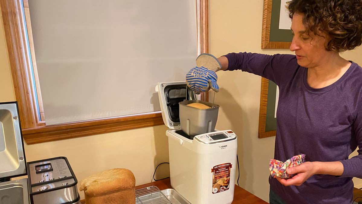 Consuer Reports Tara Casaregola testing the Zojirushi Home Bakery Maestro BB-SSC10WZ bread maker.