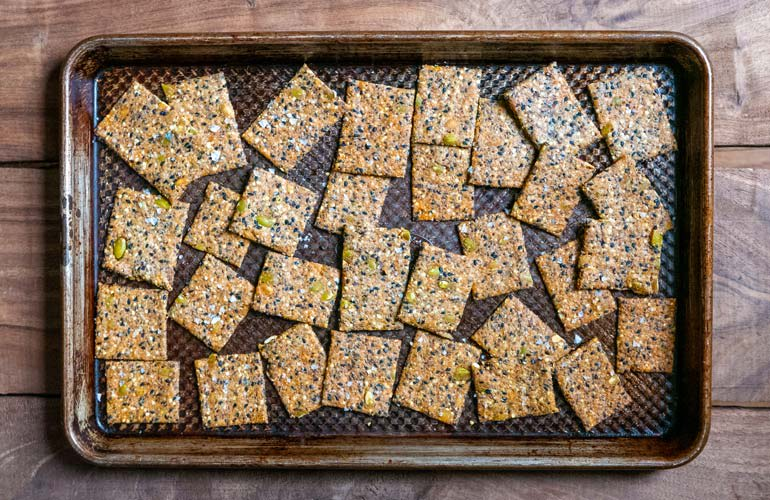 A tray of crackers, freshly baked in a toaster oven from Consumer Reports' test, is shown.