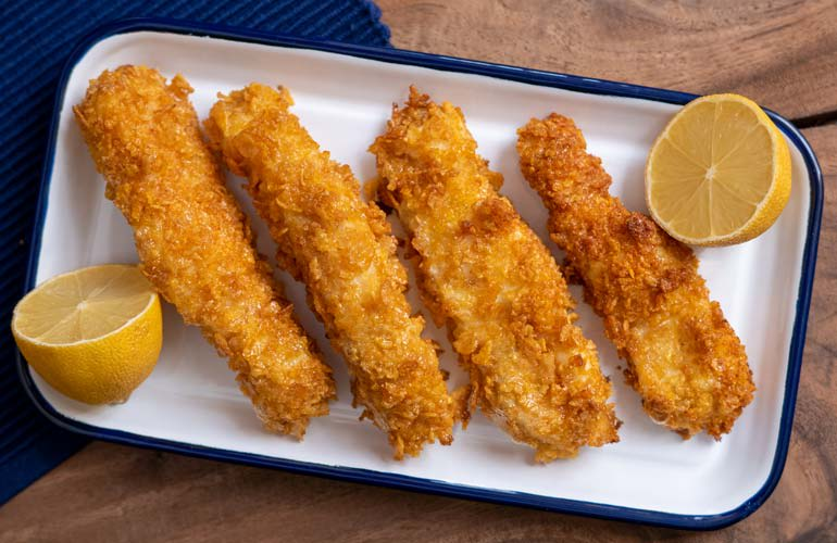Golden fish sticks made in an air fryer that Consumer Reports tested are shown.