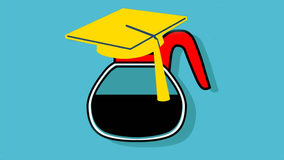 Illustration of a coffee pot with a graduation cap on top.