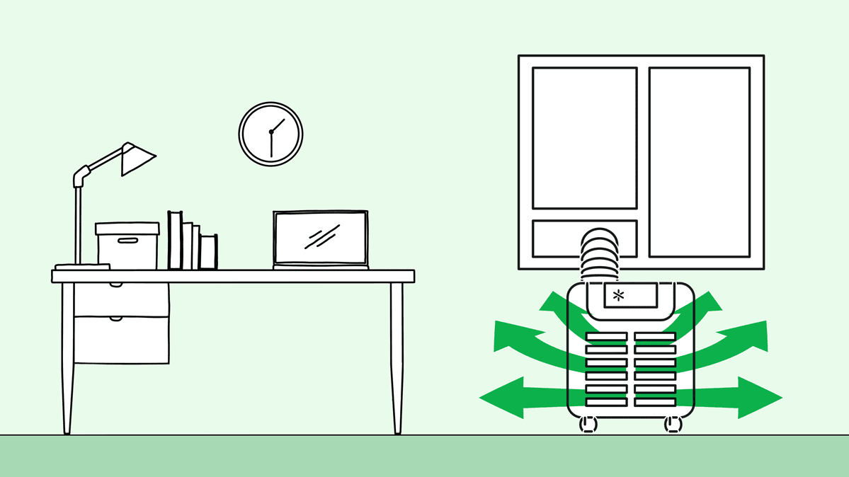 Illustration of a portable AC for an office.