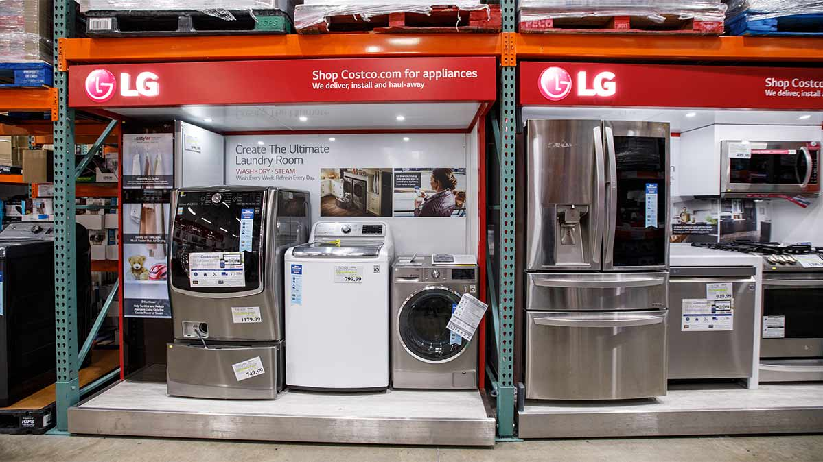 Appliances on display at a Costco store