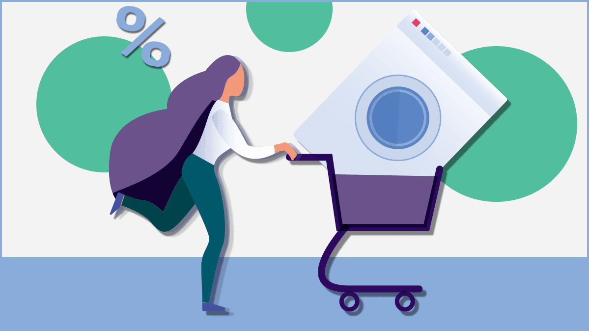 Illustration of woman with an appliance in a shopping cart