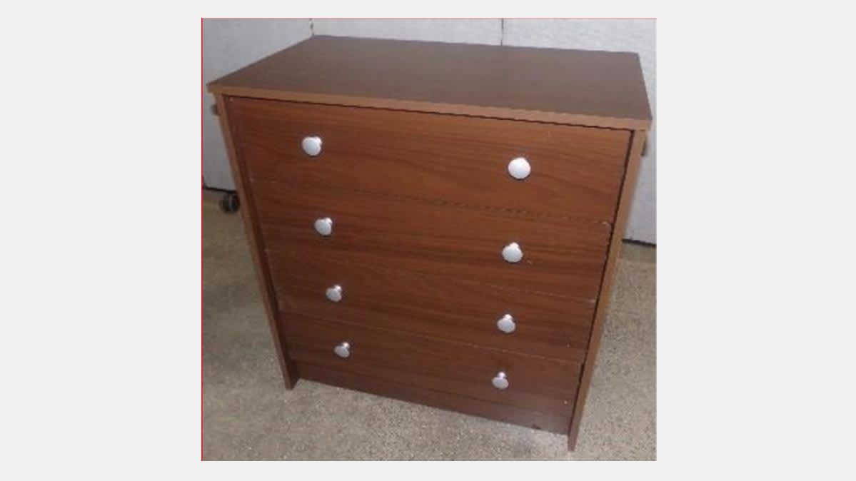 A recalled Essential Home Belmont 2.0 four-drawer dresser.