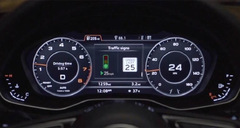 Audi Q8 shows traffic signal status using C-V2X technology.