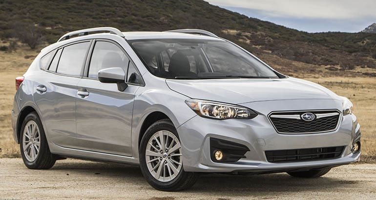 A 2019 Subaru Impreza Hatchback—one of the vehicles that may need a recall repair performed.