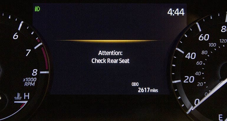 Toyota Highlander Rear Seat Reminder screen