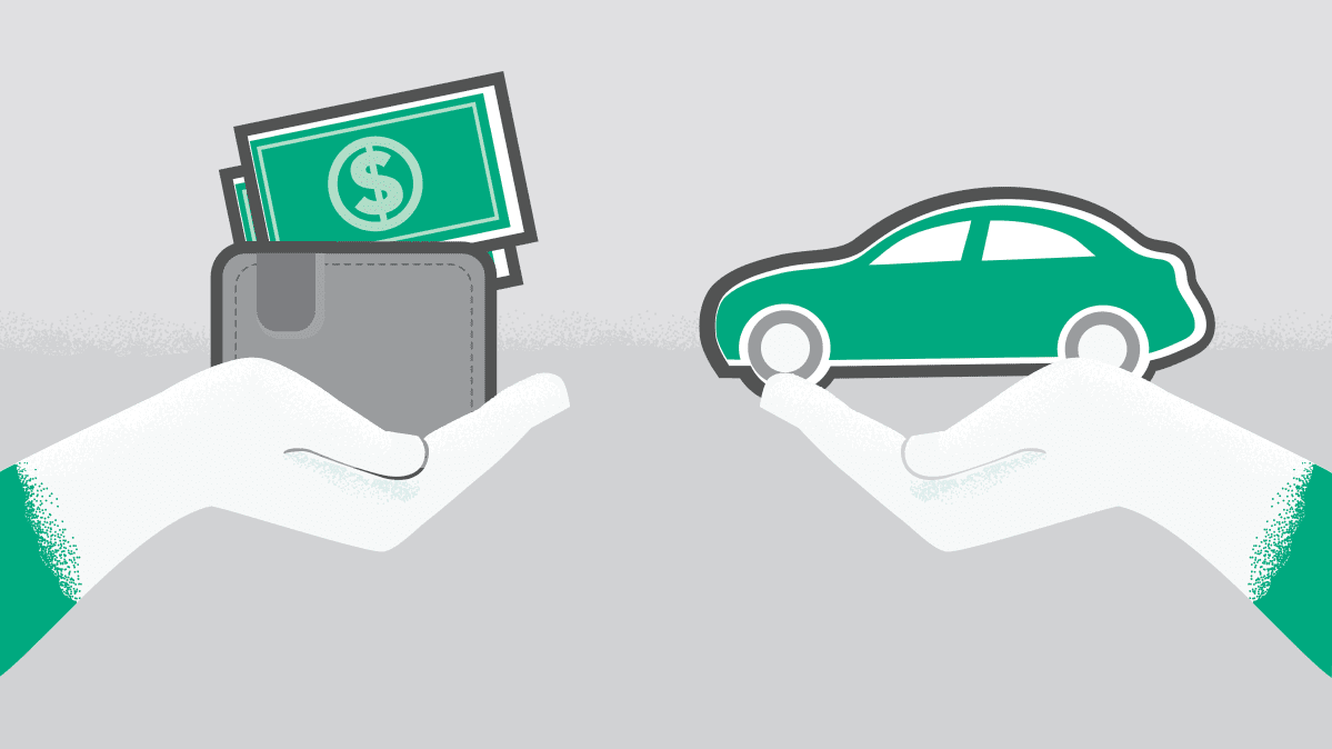 Illustration showing a hand holding a wallet and a hand holding a car.