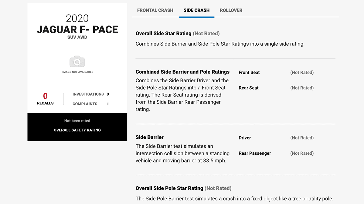 A screenshot of the NHTSA website showing no crash-test ratings for the Jaguar F-Pace