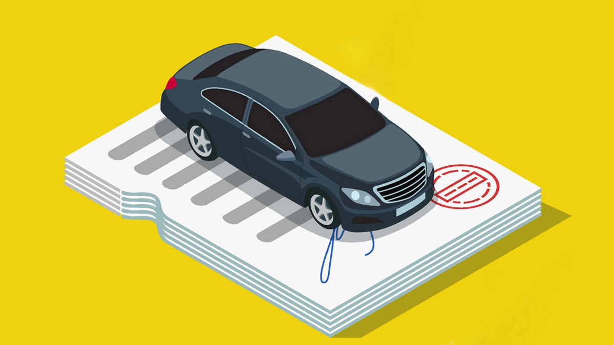 Illustration of a car sitting on top of a stack of papers for an 84-month auto loan
