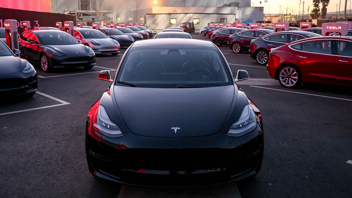 A Tesla Model 3 — the price has dropped by around 5 percent