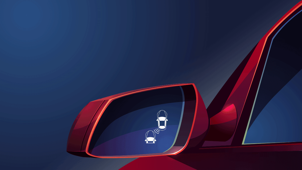 Blind spot warning symbol in a side view mirror