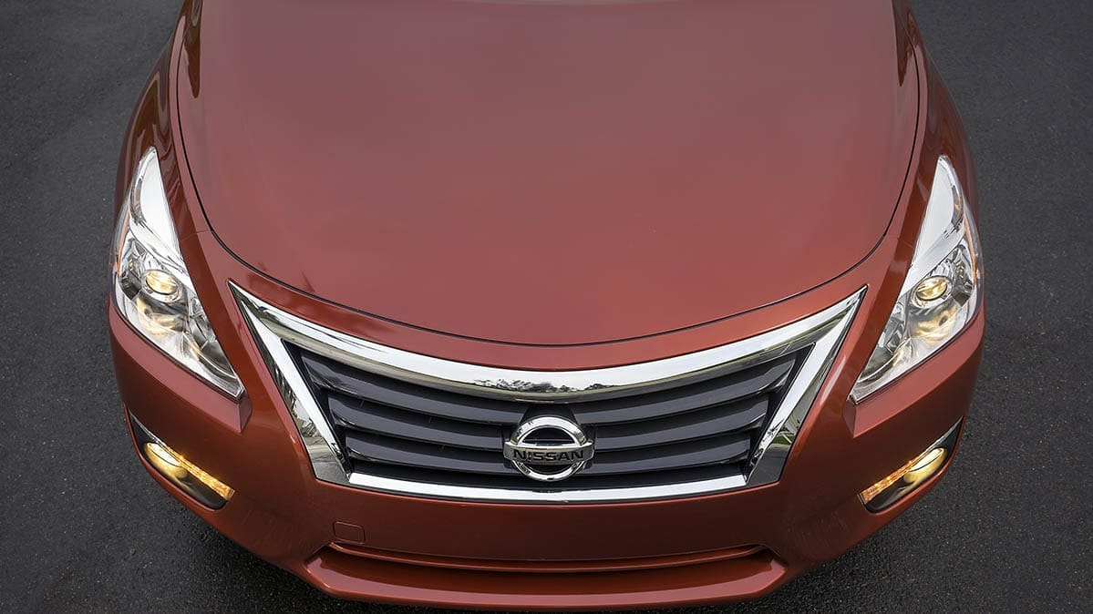 The hood on a 2015 Nissan Altima, which is being recalled for the fourth time due to a faulty hood
