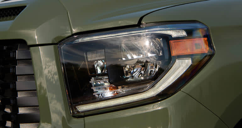 Headlight on a Toyota Tundra pickup truck