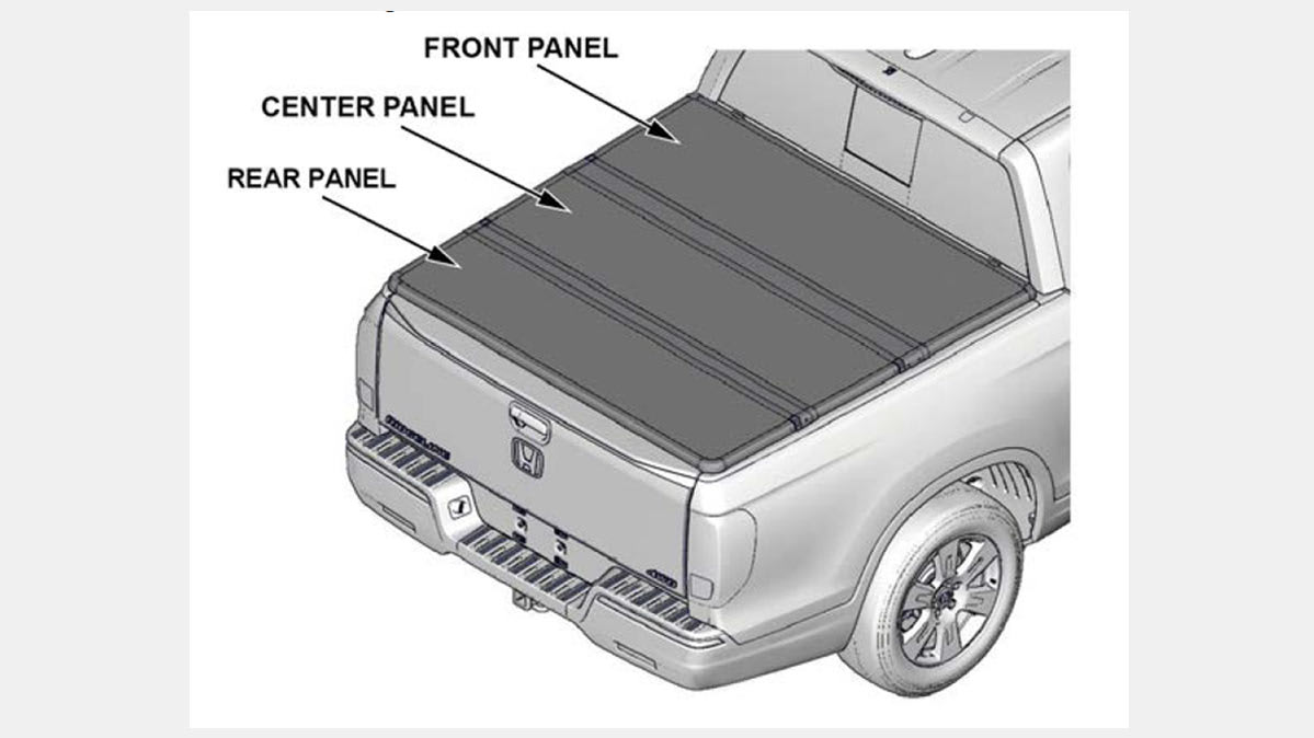 A photo of the tonneau cover on the Honda Ridgeline