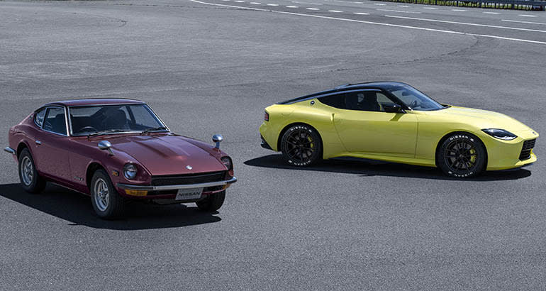 An original Nissan Z and a 2022 Nissan Z
