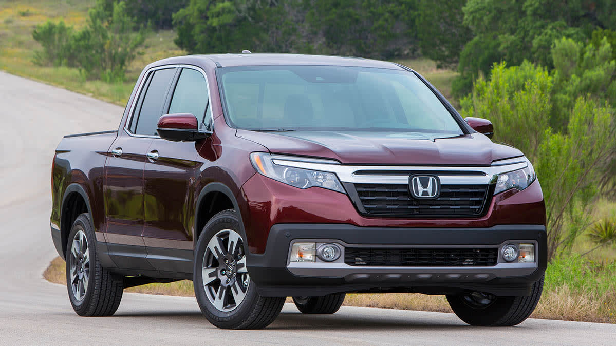 A 2017 Honda Ridgeline pickup, facing forward