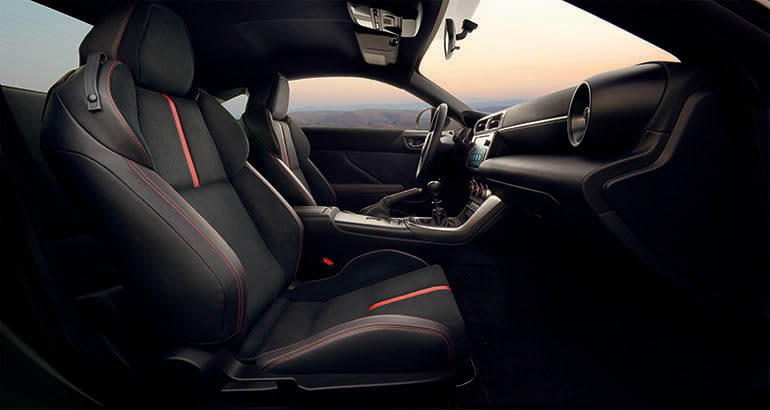 2022 Subaru BRZ interior view with red-trimmed front seats