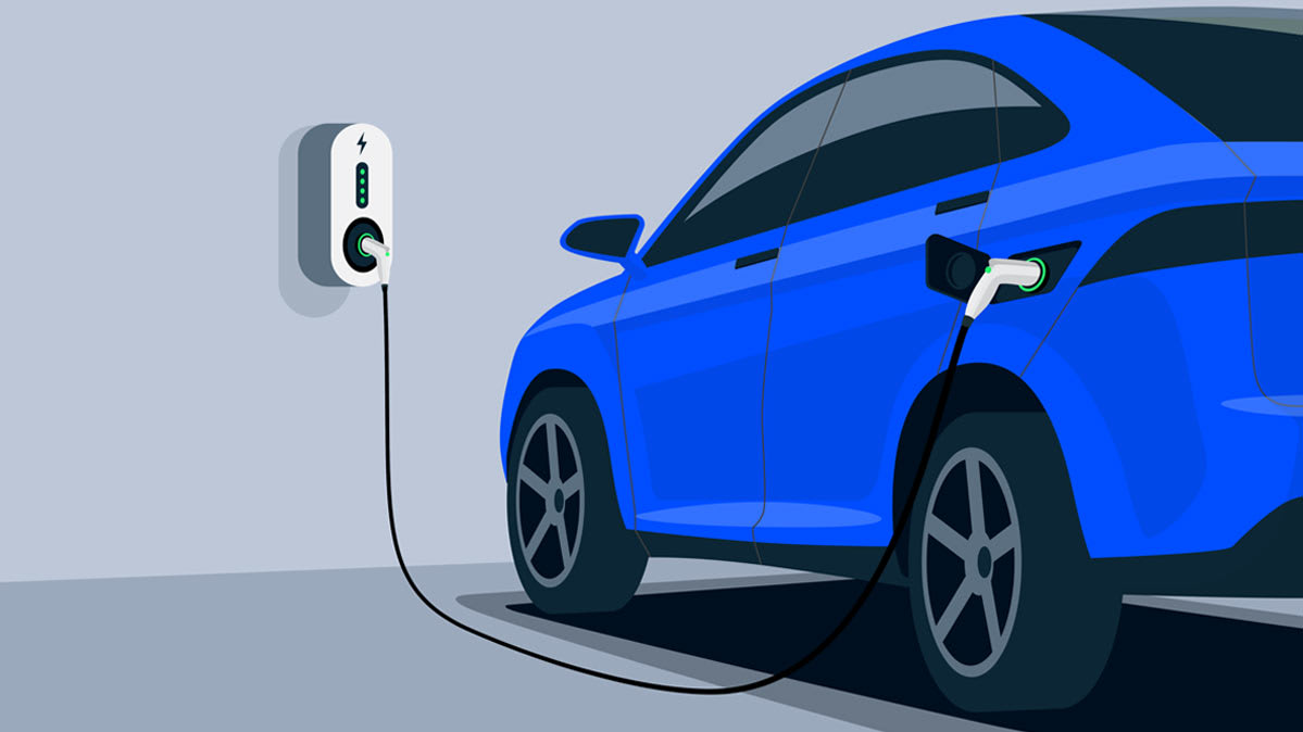 An illustrated blue electric car plugged in to its charging outlet