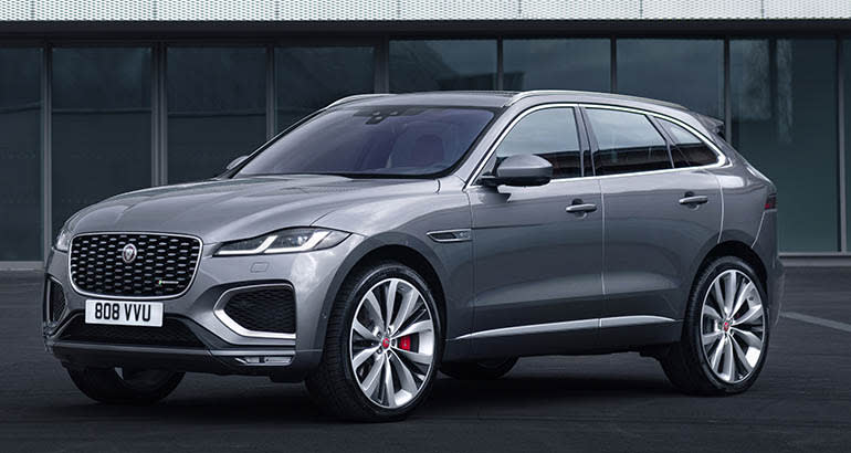 A 2021 Jaguar F-Pace — front view with restyled grille