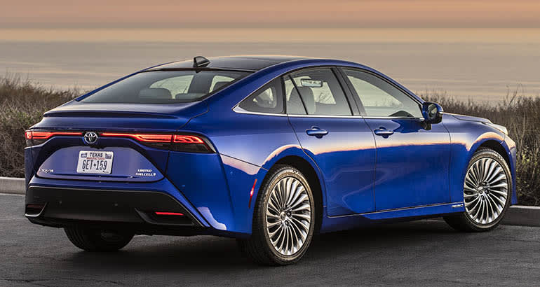 2021 Toyota Mirai Hydrogen Fuel Cell Vehicle from rear