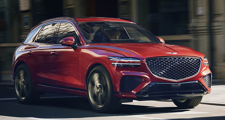 2022 Genesis GV70 forward view in red