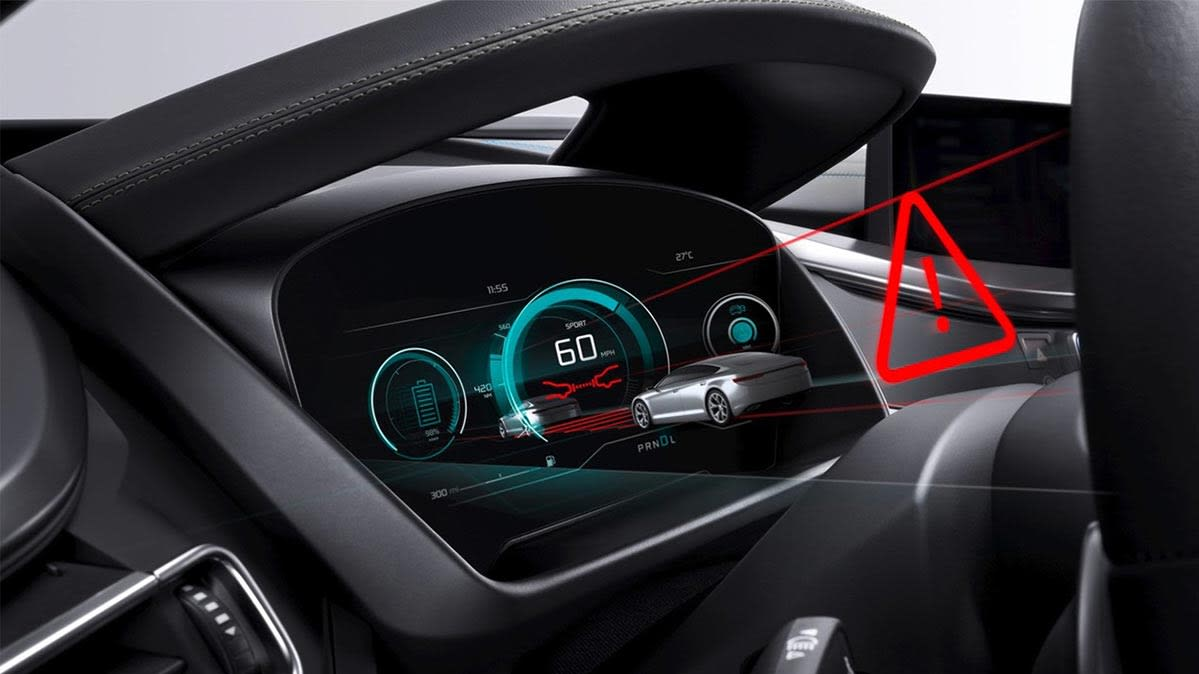 An illustration of high-tech features on a car
