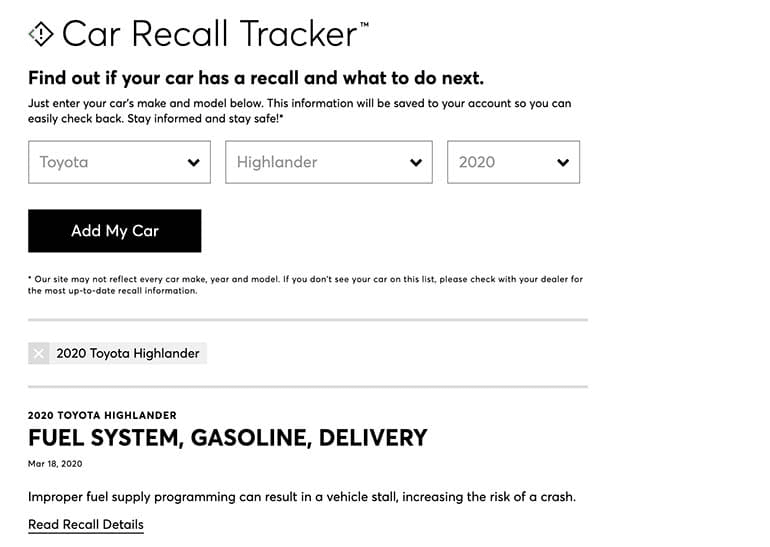 A screenshot of CR's recall tracker — how to check a recall during COVID-19 coronavirus