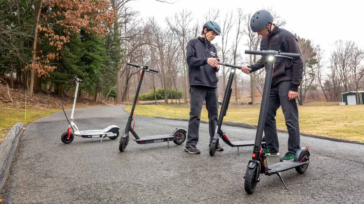 Consumer Reports conducts electric scooters reviews at its headquarters in Yonkers, N.Y.