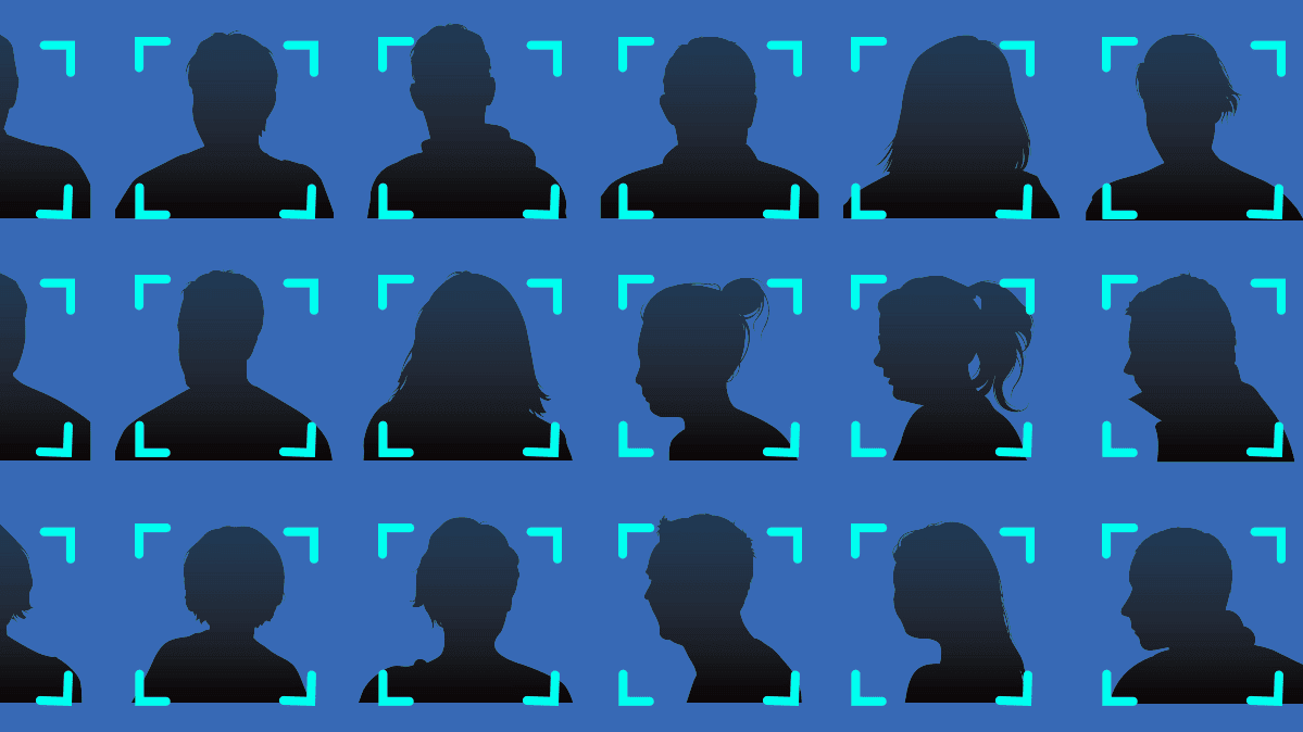 An illustration of Facebook users being identified through facial recognition.