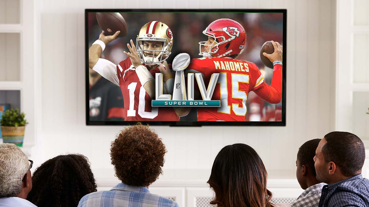 Super Bowl TV deals illustrated by fans watching the big game