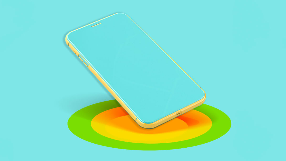 Illustration of a smartphone using wireless charging