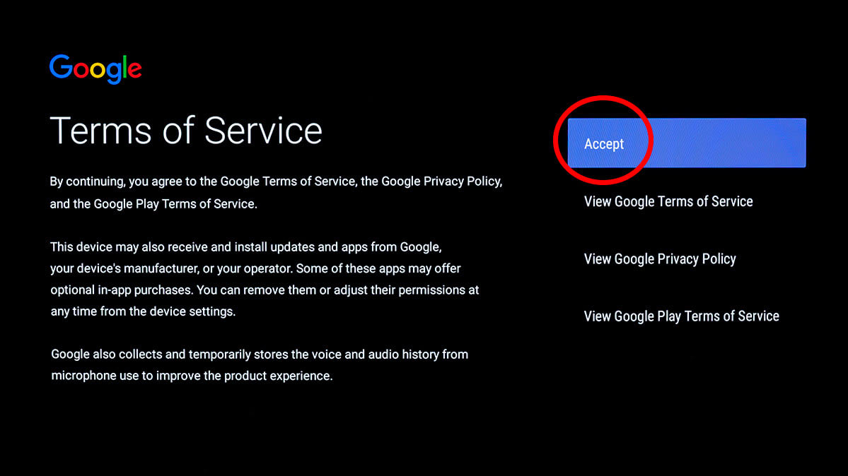 Screen shot showing that consumers need to accept the Android smart TV privacy policy to set up their TV.
