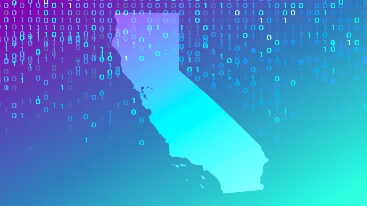 An illustrated map of California with an overlay of binary code