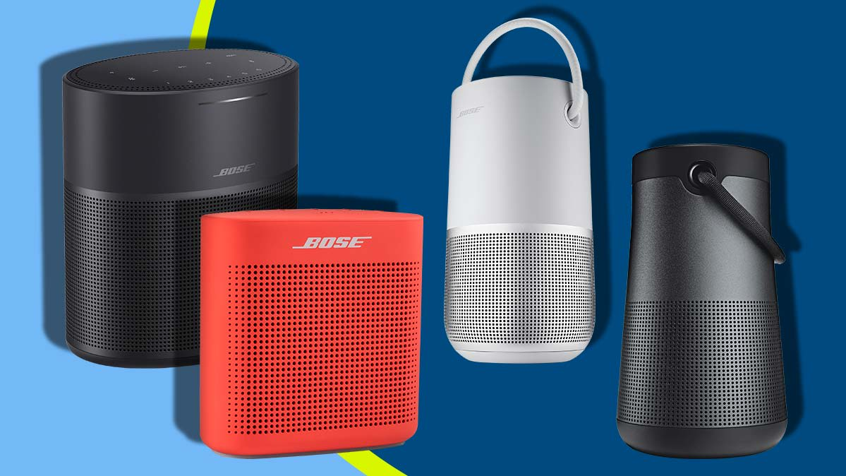 Lineup of four Bose speakers