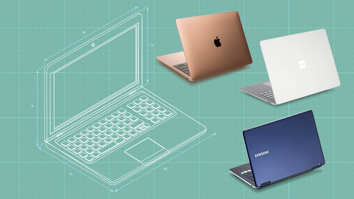 An illustration of ergonomimc laptop design with photos of the Microsoft Surface Laptop 3, Apple MacBook Air, and Samsung Notebook 9 Pen