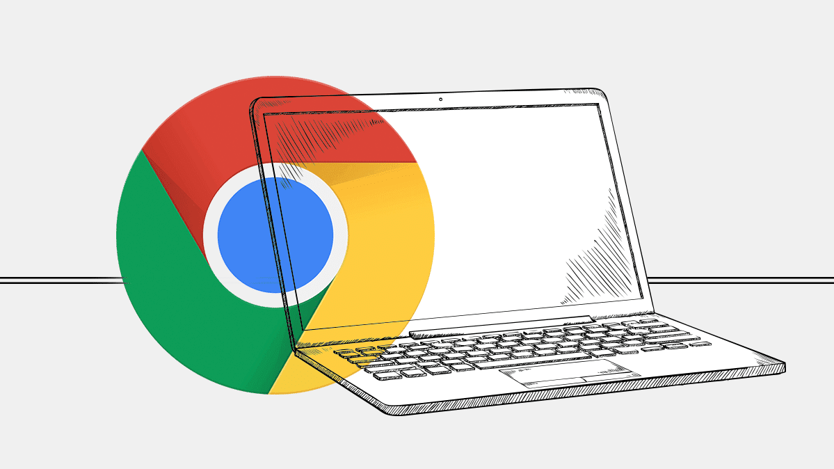 A drawing of a laptop with the Chromebook logo superimposed on it.