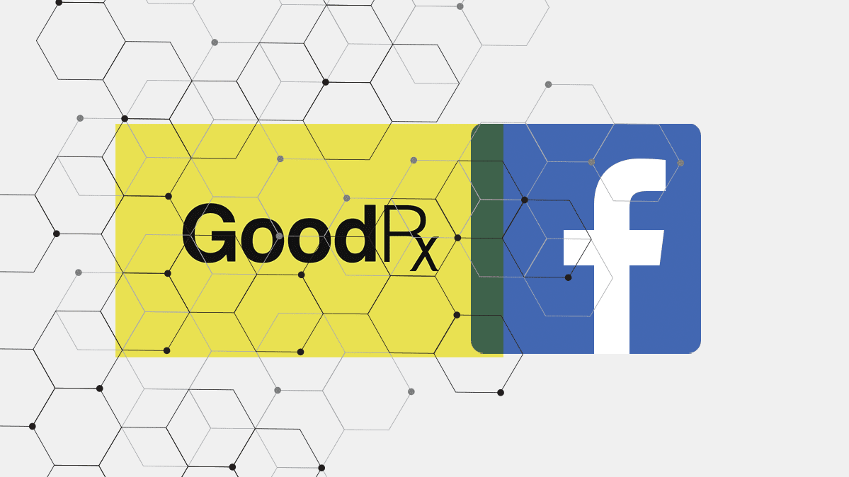 A composite of the GoodRx and Facebook logos.