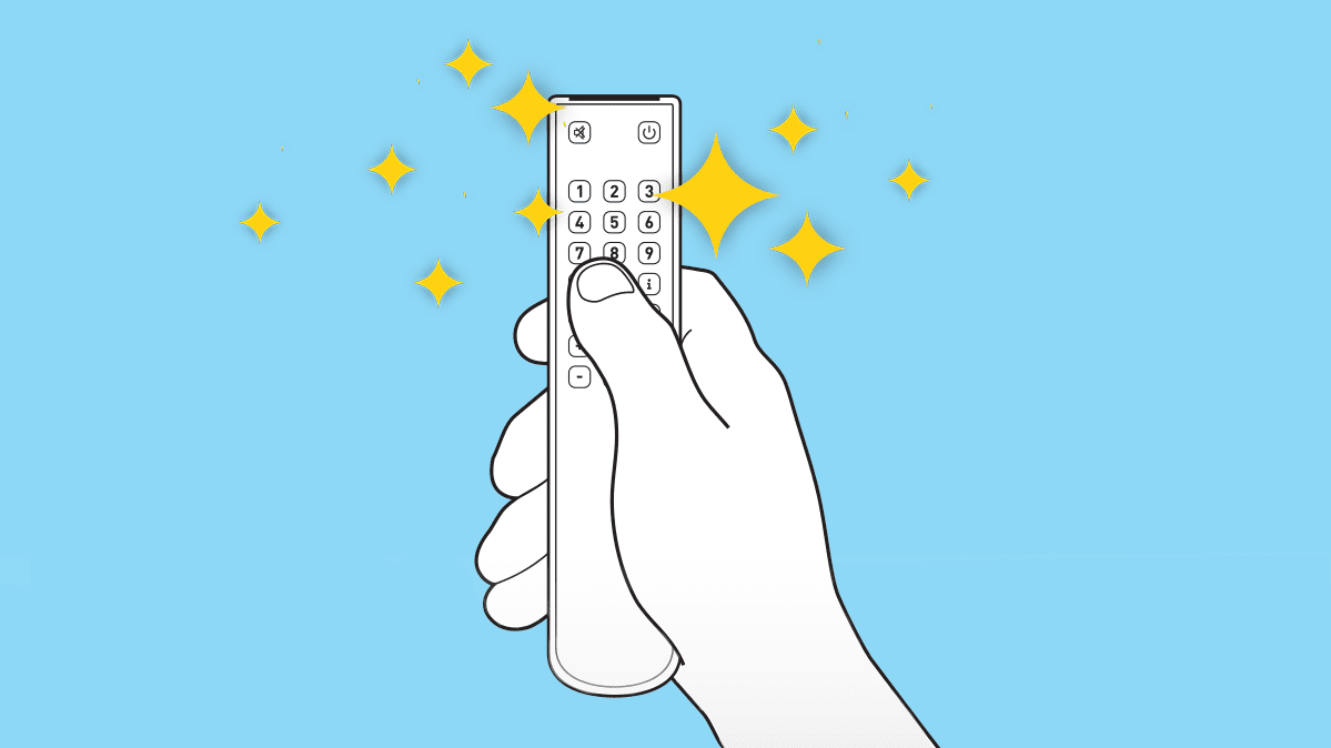An illustration of a remote surrounded by sparkles.