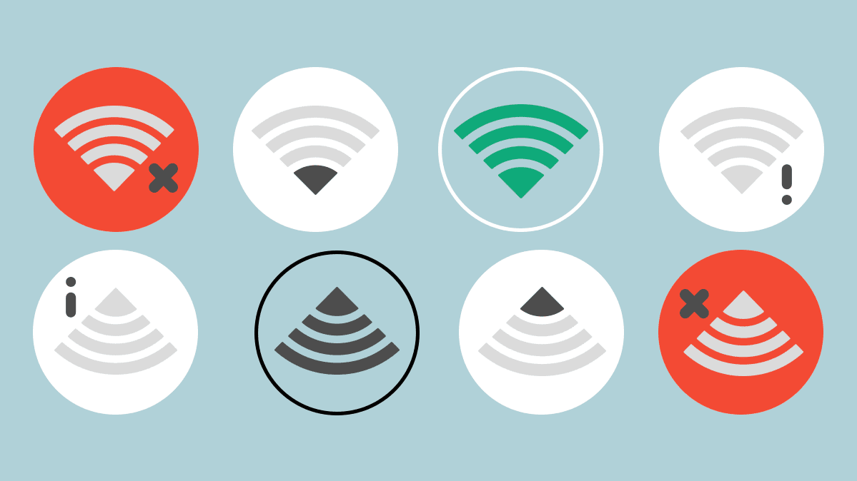An illustration featuring variations of the WiFi symbol