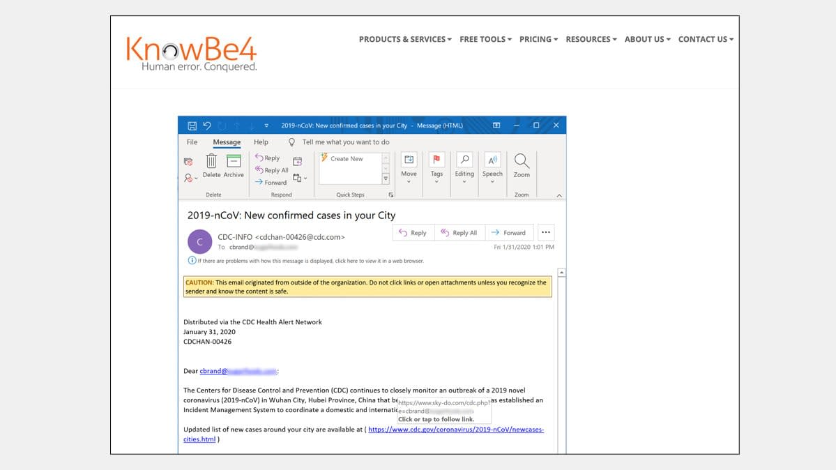 A screen shot of a phishing email made to look like it came from the CDC.