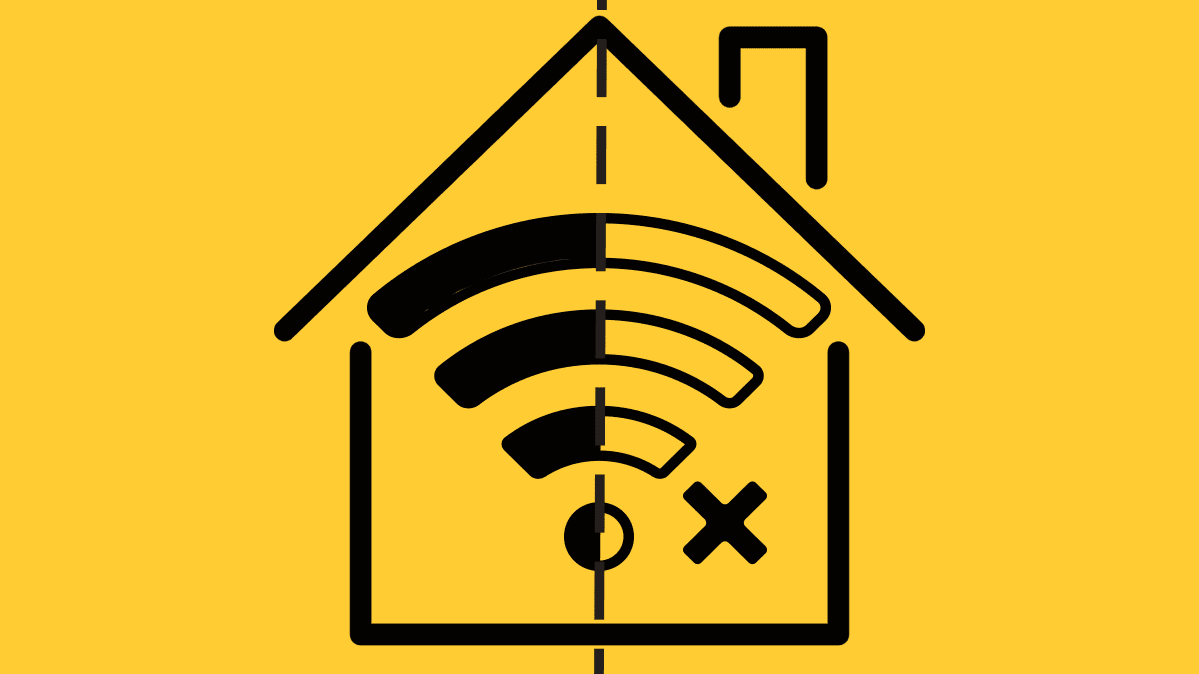 Illustration of a house with the WiFi symbol indicating only half the house has WiFi