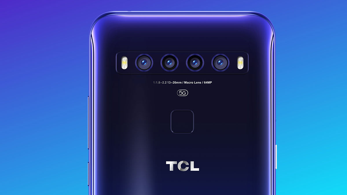 The back of the TCL 10 5G phone against a blue backdrop.