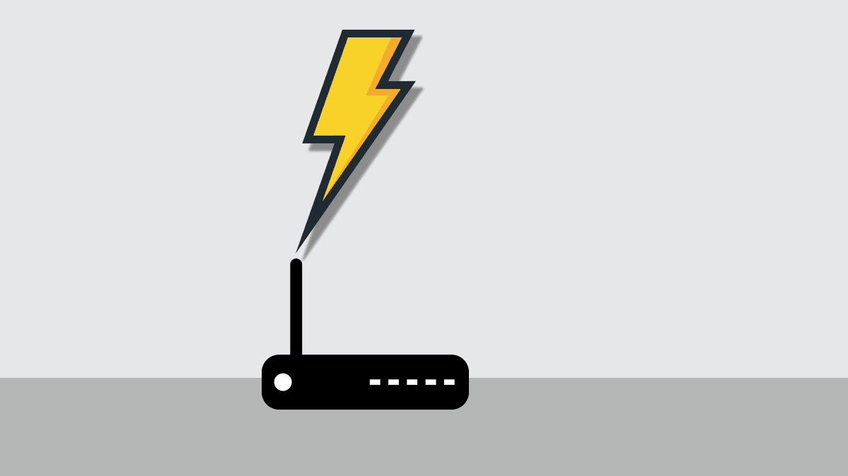 Illustration of a wireless router with a lightning bolt coming out of it